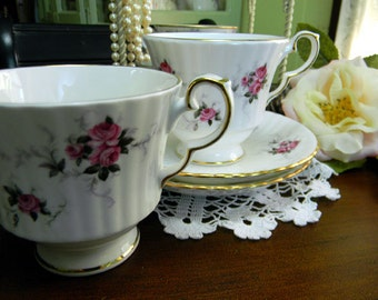 2 Hammersley  Teacup Tea Cup and Saucer - Pink Rosebuds 9140