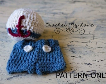 sailor crochet pattern, sailor photo prop, photo prop crochet patterns, crochet patterns, sailor hats, sailor nursery, baby boy hats