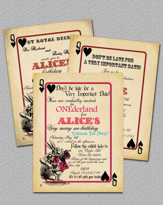 items similar to playing card alice in wonderland invitation, Invitation templates