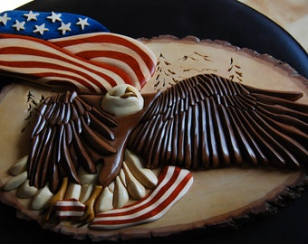 intarsia eagle medium size with american flag