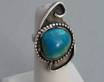 Large Native American Indian Sterling Silver and Turquoise Stone Ring, Size 6