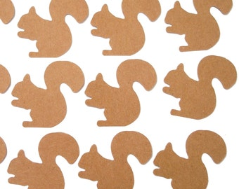 50 Kraft Paper Squirrel Confetti, Birthday Party Decorations, Paper Crafts and Party Supplies - No180