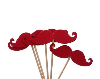 24 Red Mustache Party Picks, Cupcake Toppers, Food Picks, Toothpicks, Drink Picks - No216