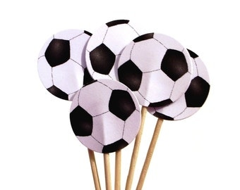 24 Soccer Ball Party Picks, Cupcake Toppers, Food Picks, Sandwich Picks, Toothpicks - No965
