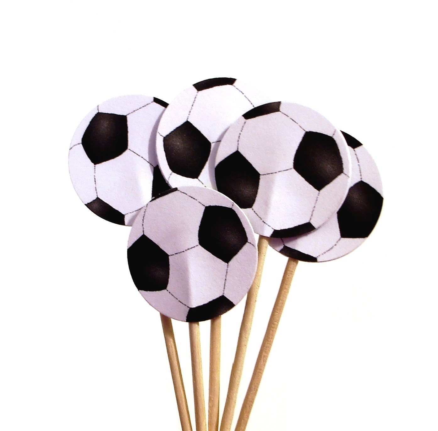 Soccer ball craft ideas - 24 Soccer Ball Party Picks Cupcake Toppers Food Picks Sandwich Picks Toothpicks