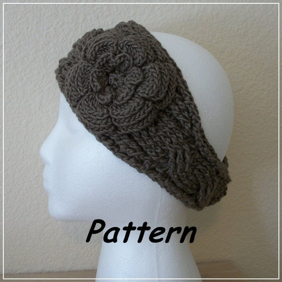 "Instant Download to PDF Crochet PATTERN: Modified ""Twist"" Headband with Irish Rose"