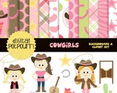 buy2get1 cowgirl clipart and papers - 22 pc