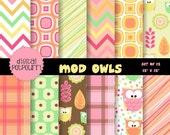 buy2get1 owls digital paper pack for scrapbooking, card making, printing - mod owls