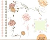 INSTANT DOWNLOAD flowers clipart set - peach sorbet