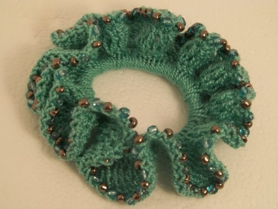 ponytail hair tie, Ponytail hair scrunchie, Bead crochet scrunchie ...