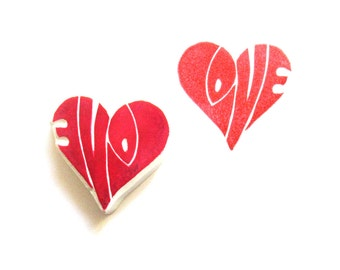 Love in a Heart Hand Carved Rubber Stamp, Unmounted