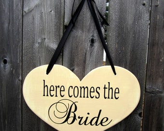 "10"" x 15"" Wooden Heart Wedding Sign:  Double Sided  here comes the Bride & ....and they lived happily ever after"