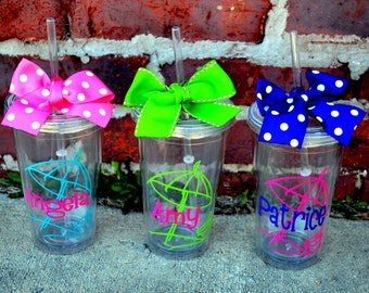 7 Beach Theme CLEAR Personalized - 16oz - Tumbler cup with Lid & Straw - Nautical - Bridesmaid Gift