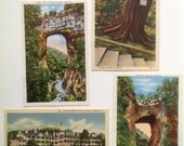Vintage FOUR Natural bridge Virginia linen postcards scenic beauty in the USA