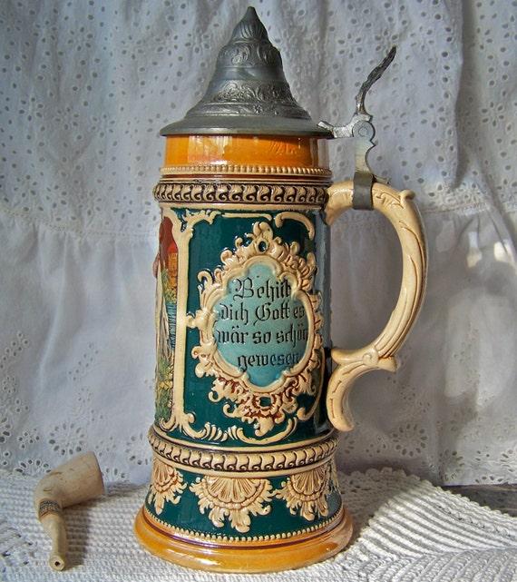 Vintage Beer Stein Pewter Lid Germany