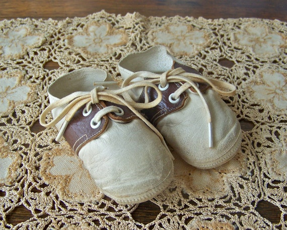 Vintage Leather Baby Shoes Saddle Shoes Oxfords Baby Boy Baby Shower Nursery Decor