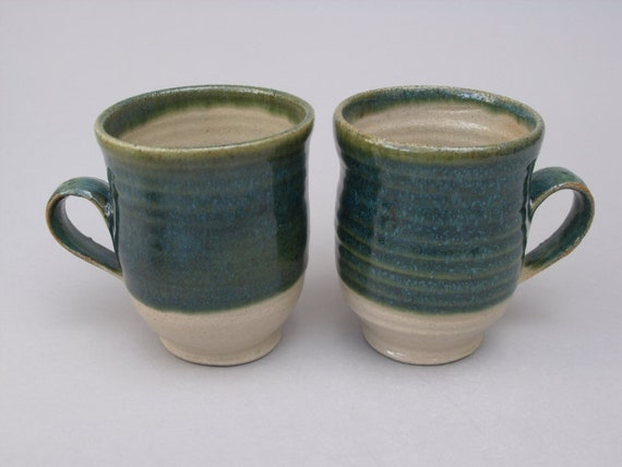 Set of two - Stoneware mugs / cups with Oribe Green glaze