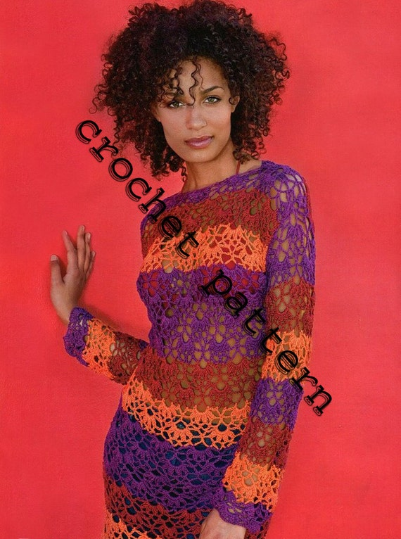 Summer Multicolor  Dress Crochet Pattern with Diagrams and Written Instruction Only  in PDF files