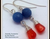 Sterling Silver Carnelian Briolette Earrings With Sapphires