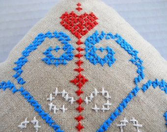 Embroidered Hearts Pillow Sham & Pillow — Red / White / Blue