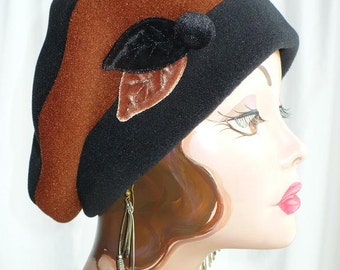 Women's Black and Rootbeer Fleece Beret with Handmade Velvet Leaves and Button
