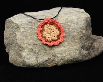 Flower Necklace with Orange Trim
