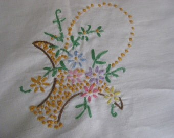 Vintage Shabby Chic White Square Embroidered Flower Basket Raised Dots Tablecloth 65 x 53 D26