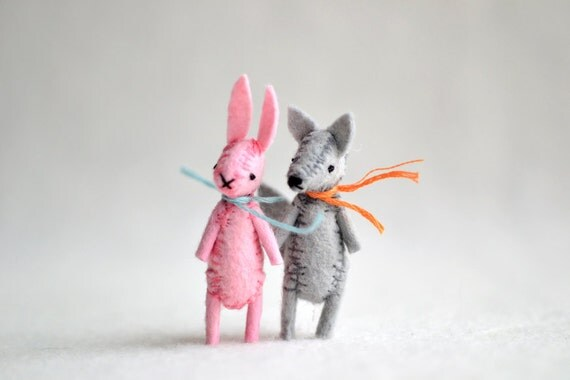 pink miniature felt bunny