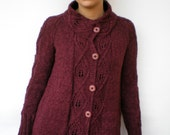 SPRING2016 Morgana Melange Bordeaux Long Cardigan  Sweater Trendy Fine Wool Hand Knit Woman Sweater SPRING COLLECTION