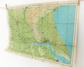 Map of South Yorkshire and Humber  - Large Vintage Map - Barthlomews Map