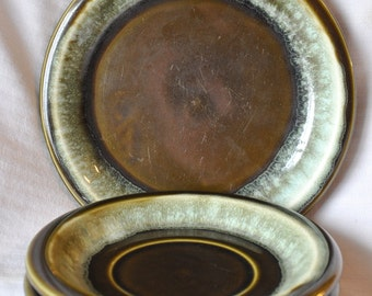 Pfaltzgraff Copper Green Plate and Saucers - Set of 3