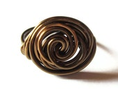 Large Rosette Ring Wire Wrapped In Antique Brass, Modern Jewelry, Large Rings