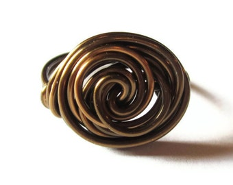Large Rosette Ring Wire Wrapped In Antique Brass, Modern Jewelry, Large Rings - CIJ - Christmasinjuly