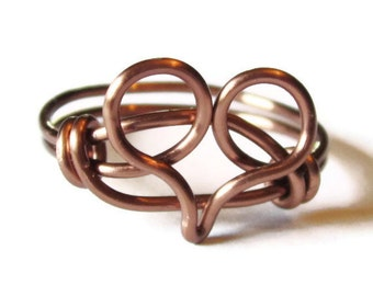 Heart Jewelry - Custom Size Heart Ring in Antique Copper Promise Ring - CIJ - Christmasinjuly - Chrismas in July