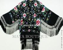 Embroidered Silk Fringe Jacket Flamenco Kimono BLACK MULTI Short Maya Matazaro