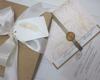 Boxed Wedding Invitation-blush - Marie Antoinette inspired -Regal -Angela Collection-  SAMPLE