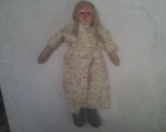 1920s or 30s Composite Doll with Blond Braids Made in Poland with a Crudely Handmade Handsewn Flannel Robe