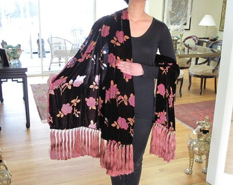 Cut Velvet Shawl with 98 Gorgeous  Silk Tassels by the Old Silk Route