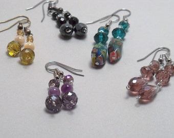 Crystal dangle earrings - Swarovski crystals, gemstones, mother of pearl