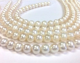 Full strand 10 to 11 mm Cultured Freshwater Pearl Potato Beads - White - Bridal or Bridesmaid Pearl (G1519W79-BHM2)