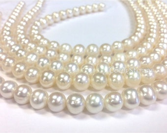 Full strand 10 to 11 mm Cultured Freshwater Pearl Round Beads - White - Bridal Pearl (G1519W79)