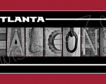 Atlanta Falcons Football Alphabet Photo Collage