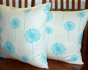 Decorative Accent Throw Pillow Covers - Two Aqua and White 18 Inch