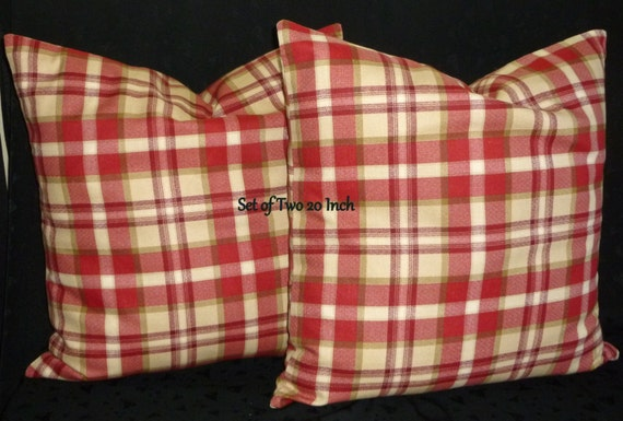 Red Plaid Throw Pillow Cover : Decorative Accent Throw Pillow Covers Red and Tan Plaid Two