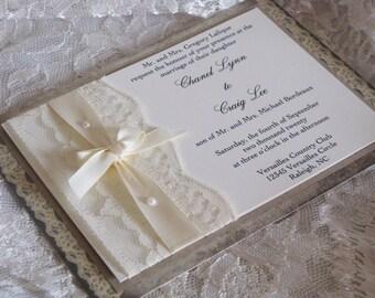 Lace Wedding Invitation, Lace Wedding Invite, Wedding Invitation, Wedding  Invite, Lace Invite