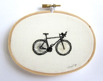 Bicycle OOAK Embroidery In Black, Gray and Taupe