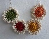 The Mini Doilies Necklace - Boho Babes no.2- Mini Crochet Collection, mini crocheted necklace, bohemian necklace, tiny crocheted doilies