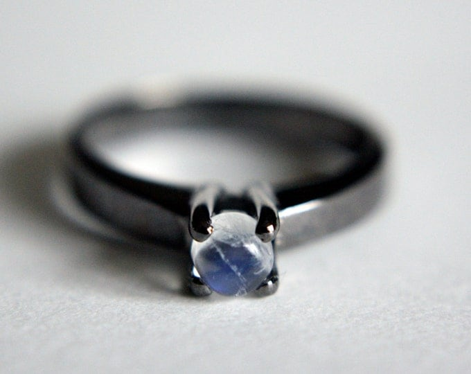 Moonstone Solitaire Ring in Black Rhodium - sterling silver moonstone ring - moonstone solitaire ring - rainbow moonstone ring