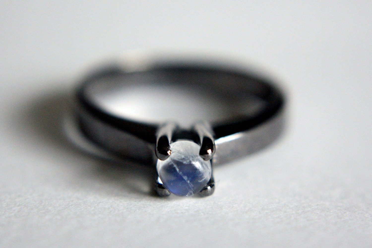 Moonstone Solitaire Ring in Black Rhodium sterling silver