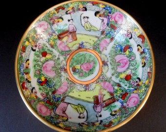 "1 PC Round Hand Painted Porcelain 5 3/4"" Dishes / Multi Colored / Gold Gilt Rim /"